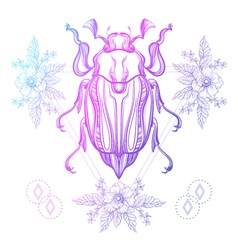 Boho tattoo color scarab beetle may bug in hipster vector