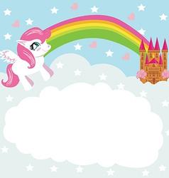 Card with a cute unicorn rainbow and fairy-tale vector