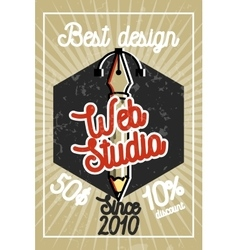 Color vintage web studio banner vector image vector image