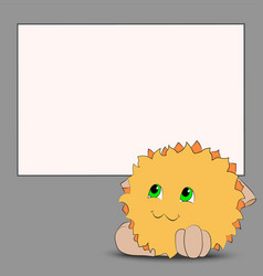 cute cartoon monster poster gray background vector image