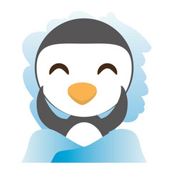 Cute penguin animal winking vector