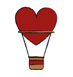 Drawing airballon heart love romantic classic vector