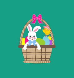 easter rabbit and chicken in basket vector image vector image