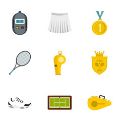 equipment for tennis sport icons set flat style vector image