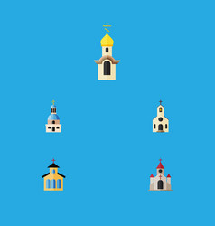 Flat icon christian set of traditional church vector