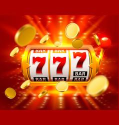 Golden big win slots 777 banner casino fly coins vector