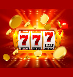 golden big win slots 777 banner casino fly coins vector image