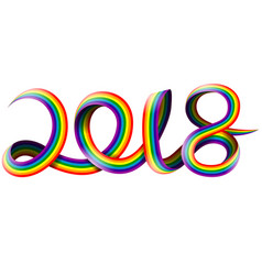 happy new year on rainbow vector image vector image