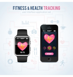 Health fitness tracker on smart watch vector