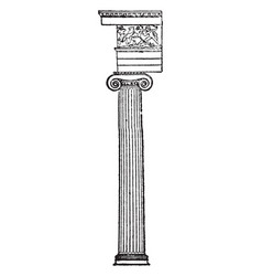 Ionic column capital vintage engraving vector