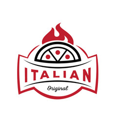 italian original pizza logo on fire vector image vector image