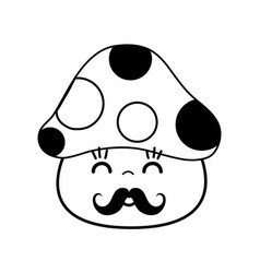 Kawaii cute happy fungus with mustache vector