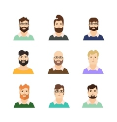 Man Avatars Hypsters with Various Hair Style and vector image