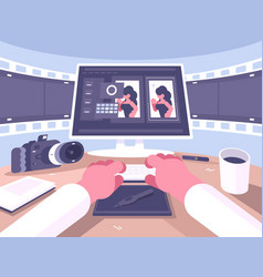 Photo designer working process vector