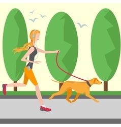 Running girl in headphones with a player vector