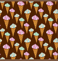 seamless pattern with ice cream on dark vector image