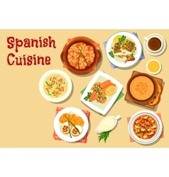 Spanish cuisine seafood dishes icon vector