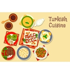 Turkish cuisine icon with grilled meat kebab vector