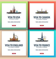 Visa to usa canada england france document for vector