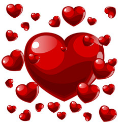 volumetric red flying hearts on white background vector image vector image