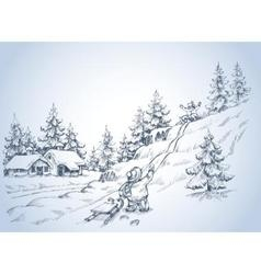 Winter background children at play in the snow vector image