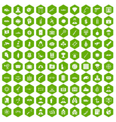 100 antiterrorism icons hexagon green vector