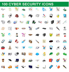100 cyber security icons set cartoon style vector