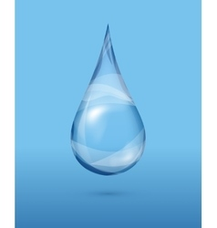 Realistic transparent water drop over blue vector