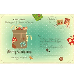 Vintage Postcard Christmas vector image