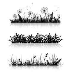 Grass banner silhouette collection vector
