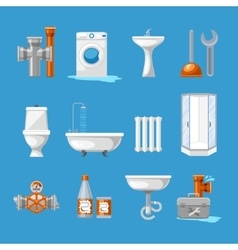 Plumbing sanitary engineering icons sink in vector