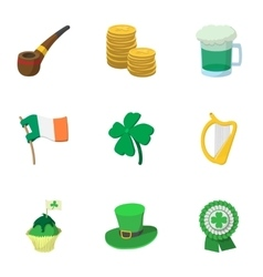 Beer festival Saint Patrick day icons set vector image