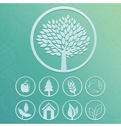 Round labels with tree and nature icons vector