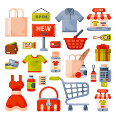supermarket grocery shopping flat style cartoon vector image
