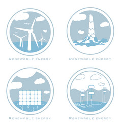 set of alternative and renewable energy vector image