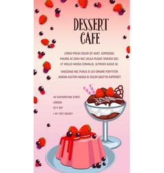 Cake and ice cream poster for dessert cafe design vector
