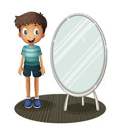 A boy standing beside the mirror vector