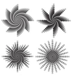 Dotted flower swirls vector