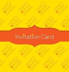 Knife fork spoon invitation card vector