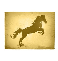 Ink splashes horse at vintage paper vector