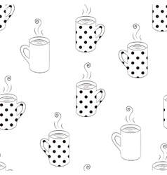 Monochrome seamless pattern with sketching cups vector