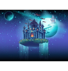Space castle with a waterfall on the background of vector