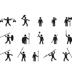 Primitive people with weapons vector