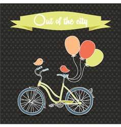 Retro poster with bicycle and balloons vector image