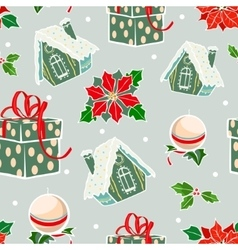 Green red holiday gingerbread houses vector
