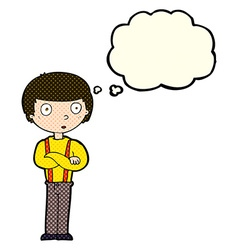 Cartoon staring boy with thought bubble vector