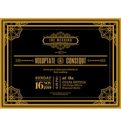 Vintage wedding invitation card vector