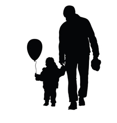 Child with father black vector