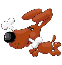 dog and a bone vector image