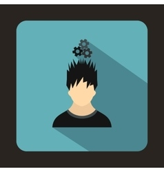 Man with metal gears over head icon flat style vector